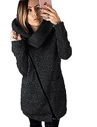 ASSKDAN Femme Manteau Hiver Avec Poche Hoodie Sweater Veste Casuel New