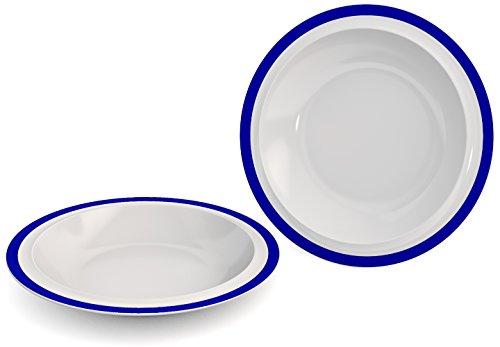 Ornamin Teller tief Ø 22 cm Rand blau 2er-Set Melamin (Modell 505) / Kunststoffteller, Speiseteller, Suppenteller