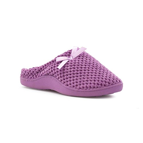 The Slipper Company Womens Lilac Closed Mule Sipper with Bow - Size 7 UK - Purple