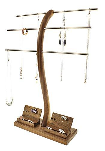 Schmuckständer Schmuckhalter Schmuckbaum Nussbaum massiv für Armband Halskette Ring und Ohrstecker.