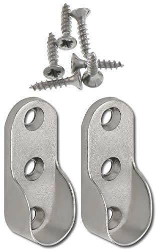 Nickel Kleiderstange (SECOTEC Schrankrohr Halter | oval 30x15 mm | seitliche Befestigung für Nischenstange | 2 Stück)