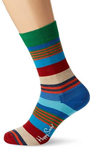 Happy Socks Unisex Freizeitsocken Multi Stripe Sock, Blau (Navy 6000), 41-46