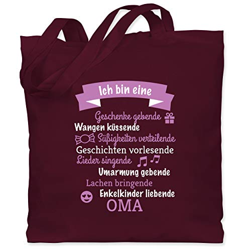 Shirtracer Geburtstag - Ich bin eine Oma! - Unisize - Bordeauxrot - WM101 - Stoffbeutel aus Baumwolle Jutebeutel lange Henkel -