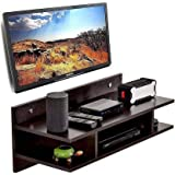 Shalimar Wooden Set Top Box Wall Shelf/Holder/Wall Mount | for Set Top Box as Well as Showpieces | Dark Brown with Glossy Fin