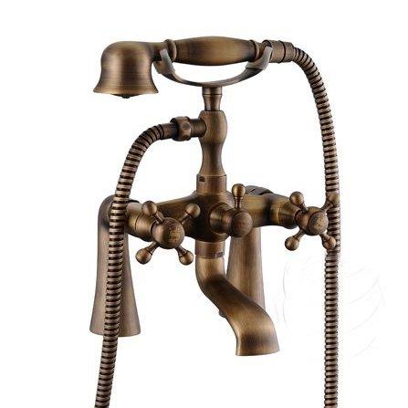 Bronze antique en laiton robinet mitigeur de douche/baignoire Clawfoot + Set de Douche Salle de Bain Robinet WC hj-6053