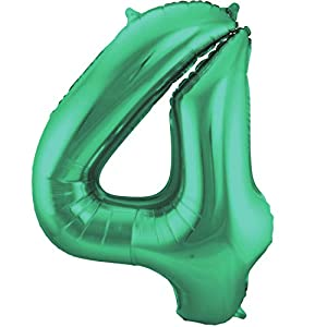 Folat Globo Verde metálico Mate con número 4 - 86 cm