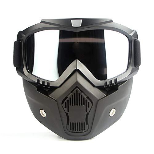 LBWNB Motorradmaske-Riding Brillen Gläser mit abbaubarer Face Maske, og-Proof Warm Goggles Mouth Filter Adjustable Strap Vintage Harley Bullet Fight Motocross,Clear