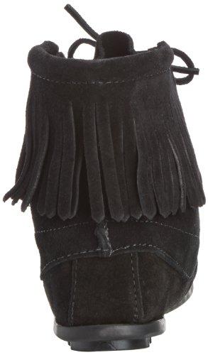 Minnetonka Mokassin Stiefel mit Fransen Schwarz Noir (Black)