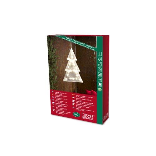 Konstsmide 2798-103 LED Kunststoffentannenbaum Holografie Effekt / H: 42 cm / 24 warm weiße Dioden / 24V Innentrafo / transparentes Kabel