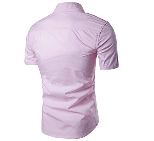 SHUNLIU Herren Freizeit Hemd Slim Fit Männer Shirt kurzarm Modern Casual Freizeit Hemden Shirt Pink