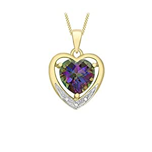 Carissima Gold 9 ct Yellow Gold with Diamond and Mystic Topaz Heart Pendant on Curb Chain Necklace of Length 46 cm/18 inch