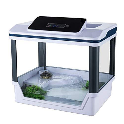 ZNN Cilindro de alimentación de Reptiles: Caja de Tortuga Deluxe Led de una Pieza, Interruptor táctil, con Sistema de Filtro y Pantalla Digital de Temperatura, y Mesa de Secado, Blanco