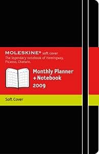 Moleskine Agenda mensuel + carnet Format de poche Couverture souple noire 9 x 14 cm