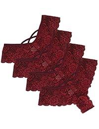 4PC Sexy Frauen Spitze Blumen Low Waist Unterwäsche Höschen G-String Dessous Thongs