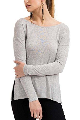 trueprodigy Casual Damen Marken Long Sleeve einfarbig Basic, Oberteil cool und stylisch mit Rundhals (Langarm & Slim Fit), Langarmshirt für Frauen in Farbe: Grey Melange 1073544-2055-S