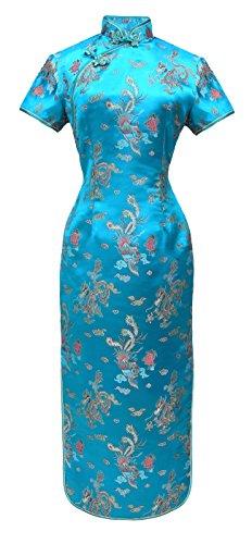 Chinesisches kleid qipao abendkleid lange ärmelkurz türkis 42