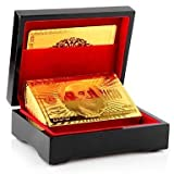#9: Bu W Luxury 24 K Gold Foil Plated Playing Cards Poker With Wooden Box Pack,Creative Funny Home Party Games Playing Entertainment Toys