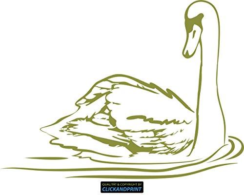 CLICKANDPRINT Aufkleber » Schwan-Silhouette, 70x51,2cm, Olive • Wandtattoo / Wandaufkleber / Wandsticker / Wanddeko / Vinyl (Silhouette Olive)