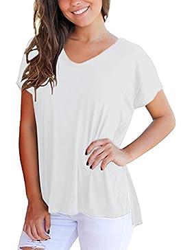ACHIOOWA Mujer Camiseta Elegante Casual Manga Corta Blusa Cuello V Punto Verano Playa Fiesta Oficina Suelto Top...