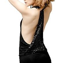 LOCOMO cuello halter abierto Espalda de lentejuelas sin mangas Mini vestido ffd006talla S-M
