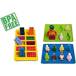LUCENTEE - Moldes de silicona para cubitos de hielo y mermelada (bandejas, ideal para caramelos, Chocolate y dulces), diseño de robots y bloques de construcción