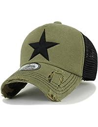 5717ce8b ililily Star Embroidery Black White Trucker Hat Cotton Baseball Cap