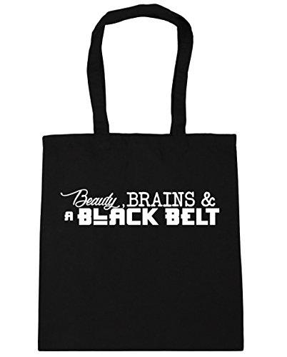 hippowarehouse-beauty-brains-a-black-belt-tote-shopping-gym-beach-bag-42cm-x38cm-10-litres