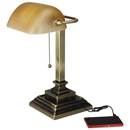 Messing Banker Lampe (Alera ALELMP517AB Traditionelle Banker-Lampe, mit USB, 40,6 cm hoch, bernsteinfarbener Glasschirm mit Sockel aus Messing)