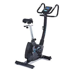 Capital Sports Durate X77 Cyclette con cardiofrequenzimetro (resistenza regolabile su 8 livelli, sellino regolabile, pedali con cinghie, 9 programmi preimpostati) - nero