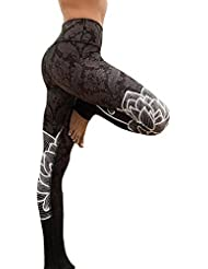 Sfit Femme Leggings Pantalon Yoga Fitness Jogging Gym Taille Haute Élastique Respirable