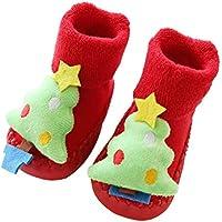 Toyvian Bebé Niños Niñas Niños Pequeños Zapatillas Antideslizantes Zapatillas Calcetín Lindo Árbol de Navidad Invierno Cálido Grueso Antideslizante Patín Deslizamiento Calcetines Interiores Zapatilla