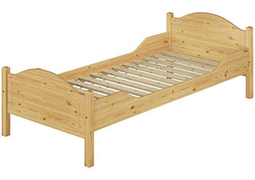 Erst-Holz® Massivholzbett Kiefer Natur 90x200 Jugendbett Einzelbett Lattenrollrost Einzelbett 60.30-09