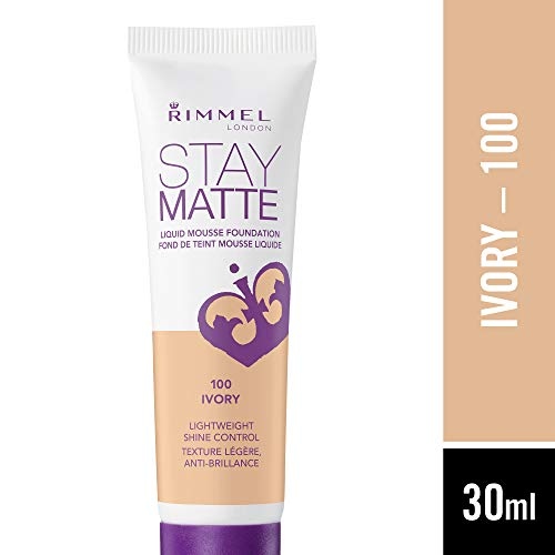 Rimmel London Stay Matte Liquid Mousse Foundation, Good Coverage and Oil-Free Formula, Ivory, 30 ml