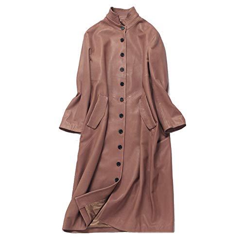 Imzoeyff Lange Mantel-Jacke Der Frauen Luxuxqualitäts-Leder-Schaf-Leder-Leder-Windjacke-Frauen Mode-Elegante,Pink,L -