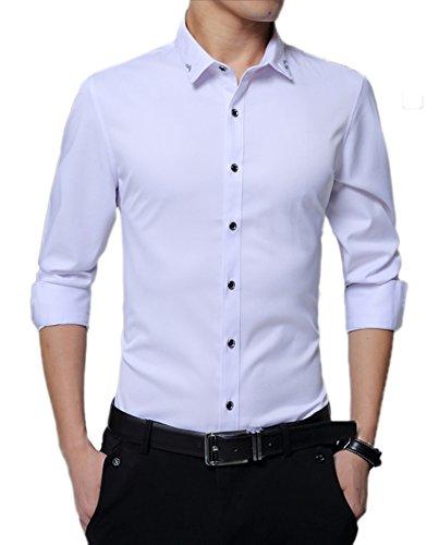 DD.UP Herren Hemd Seide Baumwolle Regular Fit Business Langarmhemd Freizeit Hemden Weiß Tag(XXL)=EUR M (Seide Baumwolle-button-down-shirt)