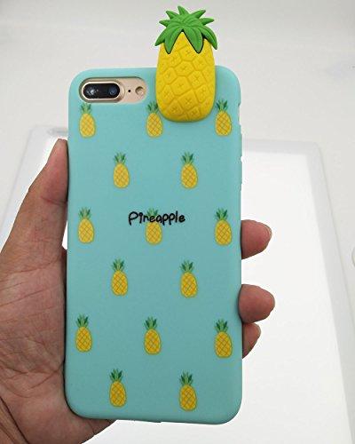 iPhone 7 Hülle, BENKER Hohe Qualität Kreativ Anti-Kratz Nicht Verblassen TPU Silikon Frucht Telefon Fall - Erdbeere Ananas