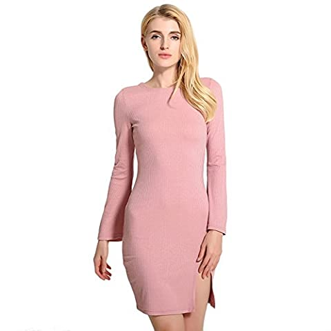 Sugarwewe Sexy Long Bell Sleeve Low Back Crisscross Split Bodycon Club Dress Light Pink M