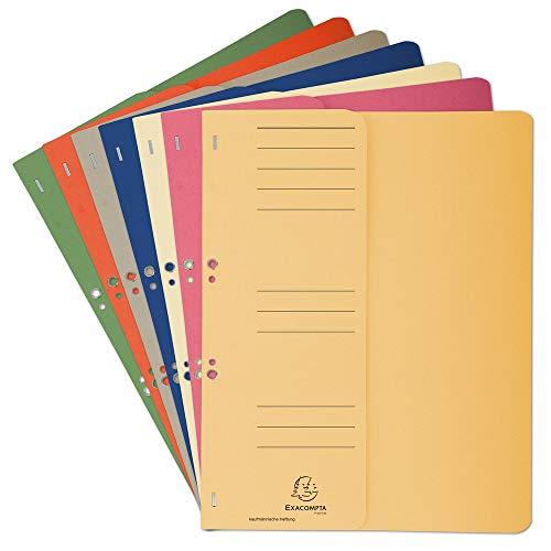 Exacompta 351600B Packung (mit 50 Ösenhefter, Vorderdeckel und Beschriftungsfeld, für DIN A4, Recycling Papier) farbig sortiert