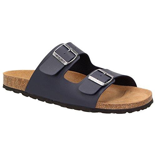 BOWS® Schuhe -ERNIE- Herren Sandale Hausschuhe Clogs Pantoletten Pantoffeln Zweier-Riemen Leder-Fußbett, Schuhgröße:46, Farbe:blau (Fußbett Blaue)