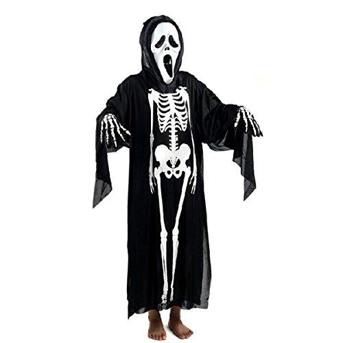 HEALIFTY Halloween Schädel Skeleton Ghost Kleidung Schreien Geistermaske Maskerade Kostüm Cosplay Requisiten Set für Erwachsene (Schwarz)