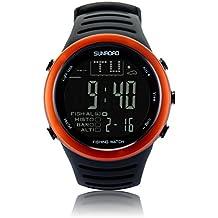 SUNROAD FR720 Men Sports Fishing Watch - Digital Waterproof Stopwatch/Altimeter/Barometer/Thermometer LCD Display (Orange)