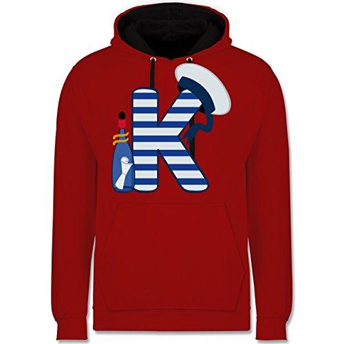 Anfangsbuchstaben - K Schifffahrt - Kontrast Hoodie Rot/Schwarz