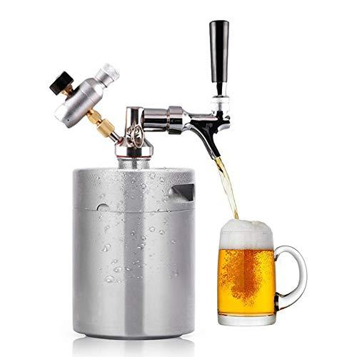 Homebrew Growler Mini Keg in acciaio inox Keg birra di stile Growler mini barilotto di birra + Growler lance + CO2 iniettore Premium, rubinetto regolabile,2L