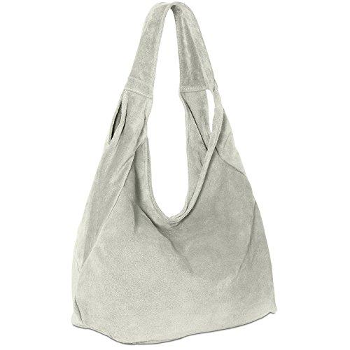 CASPAR TL618 Damen Ledertasche Shopper Beuteltasche Hobo Bag aus echt Leder Wildleder, Farbe:hell grau -