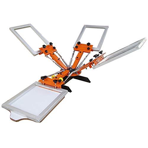 Fayelong DIY-Siebdruckmaschine Siebdruckpresse Siebdruck für T-Shirt DIY Drucken abnehmbare Palette orange (4 Farbe 1 Station) -