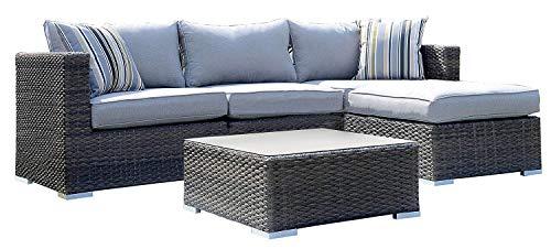XONE Set Giardino Las Palmas in polyrattan e Alluminio Composto da Divano angolare, Un Pouf e Un tavolino