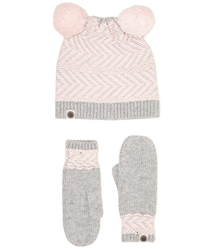 Chevron Pom Hat/Mitten Set (Toddler/Little Kids) Sterling Heather Multi 4-6 Years ()