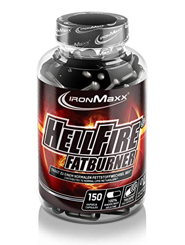 IronMaxx Hellfire Fatburner Tricaps - Fatburner Kapseln zum Abnehmen - Hellfire Tricaps mit Thermogenetic Burn Formula - 1 x 150 Kapseln -