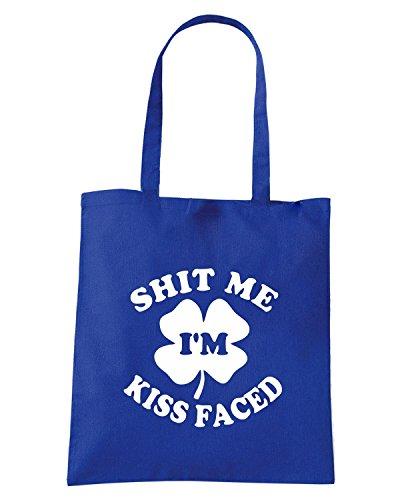T-Shirtshock - Borsa Shopping TIR0185 shit me im kiss faced dark tshirt Blu Royal