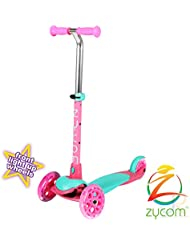 Zycom Zing tres rueda Scooter con luz hasta ruedas–azul/rosa